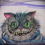 Прикольный вариант тату эскиз чеширский кот – можно использовать для тату чеширский кот на шее