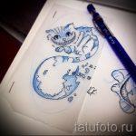 Достойный вариант тату эскиз чеширский кот – можно использовать для тату чеширский кот акварель