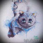 Уникальный вариант татуировки эскиз чеширский кот – можно использовать для чеширский кот картинки тату