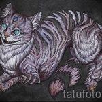 Оригинальный вариант тату эскиз чеширский кот – можно использовать для тату чеширский кот на спине