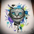 Уникальный вариант тату эскиз чеширский кот – можно использовать для тату чеширский кот мужские