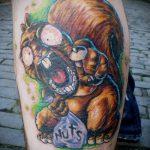 Уникальный пример выполненной татуировки белка – рисунок подойдет для тату белка в колесе