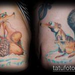 Крутой вариант нанесенной тату белка – рисунок подойдет для фото тату белка ёж лягушка