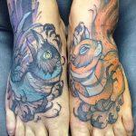 Зачетный пример существующей татуировки белка – рисунок подойдет для фото тату белка ёж лягушка