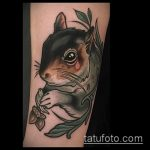 Уникальный пример готовой тату белка – рисунок подойдет для фото тату белка ёж лягушка