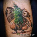 Оригинальный вариант нанесенной татуировки белка – рисунок подойдет для тату белка акварель
