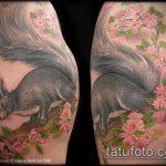 Крутой вариант выполненной татуировки белка – рисунок подойдет для тату белка акварель