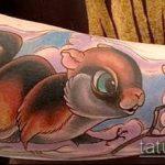 Интересный пример готовой татуировки белка – рисунок подойдет для тату белка акварель