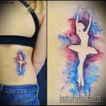 фото тату балерина №629 - прикольный вариант рисунка, который успешно можно использовать для доработки и нанесения как тату балерина маленькая