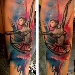 фото тату балерина №428 - достойный вариант рисунка, который хорошо можно использовать для преобразования и нанесения как тату балерина маленькая
