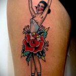 фото тату балерина №382 - прикольный вариант рисунка, который легко можно использовать для переделки и нанесения как тату балерина на запястье