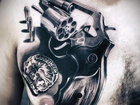 Фото тату револьвер (значение) - пример интересного рисунка тату - 034 tatufoto.com