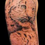 фото тату барс №631 - крутой вариант рисунка, который успешно можно использовать для доработки и нанесения как снежный барс тату