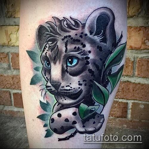 фото тату барс №72 - уникальный вариант рисунка, который легко можно использовать для переделки и нанесения как тату барса на плече