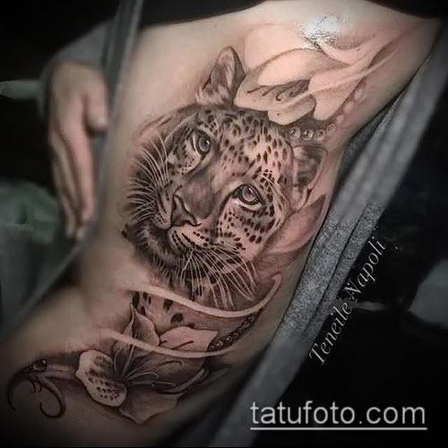 фото тату барс №725 - интересный вариант рисунка, который успешно можно использовать для переработки и нанесения как тату барс на животе