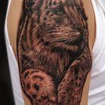 фото тату барс №955 - уникальный вариант рисунка, который хорошо можно использовать для преобразования и нанесения как тату барс на лопатке