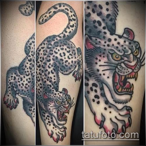 фото тату барс №482 - классный вариант рисунка, который успешно можно использовать для переработки и нанесения как татуировка барс на спине
