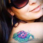 фото тату божья коровка №973 - крутой вариант рисунка, который хорошо можно использовать для доработки и нанесения как тату божья коровка с клевером