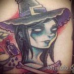 фото тату ведьма №476 - интересный вариант рисунка, который хорошо можно использовать для переработки и нанесения как тату ведьма на костре лес
