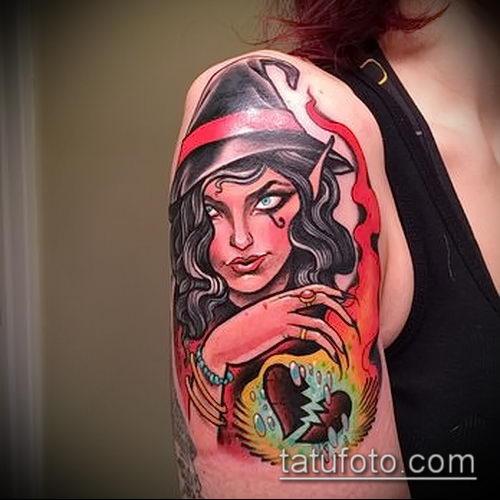 фото тату ведьма №594 - крутой вариант рисунка, который удачно можно использовать для переработки и нанесения как тату ведьма на костре лес