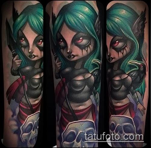 фото тату ведьма №253 - классный вариант рисунка, который легко можно использовать для преобразования и нанесения как тату ведьма руны