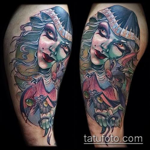 фото тату ведьма №754 - интересный вариант рисунка, который легко можно использовать для доработки и нанесения как татуировка ведьма на метле