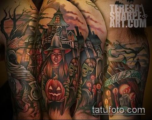 фото тату ведьма №503 - эксклюзивный вариант рисунка, который легко можно использовать для переделки и нанесения как тату ведьма на костре лес