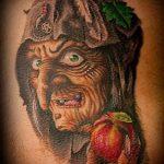 фото тату ведьма №627 - прикольный вариант рисунка, который успешно можно использовать для доработки и нанесения как тату ведьма мультик