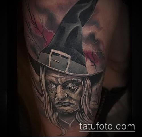 фото тату ведьма №355 - уникальный вариант рисунка, который легко можно использовать для переработки и нанесения как тату ведьма инквизиция