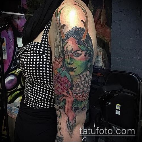 фото тату ведьма №241 - интересный вариант рисунка, который успешно можно использовать для доработки и нанесения как татуировка ведьма на метле