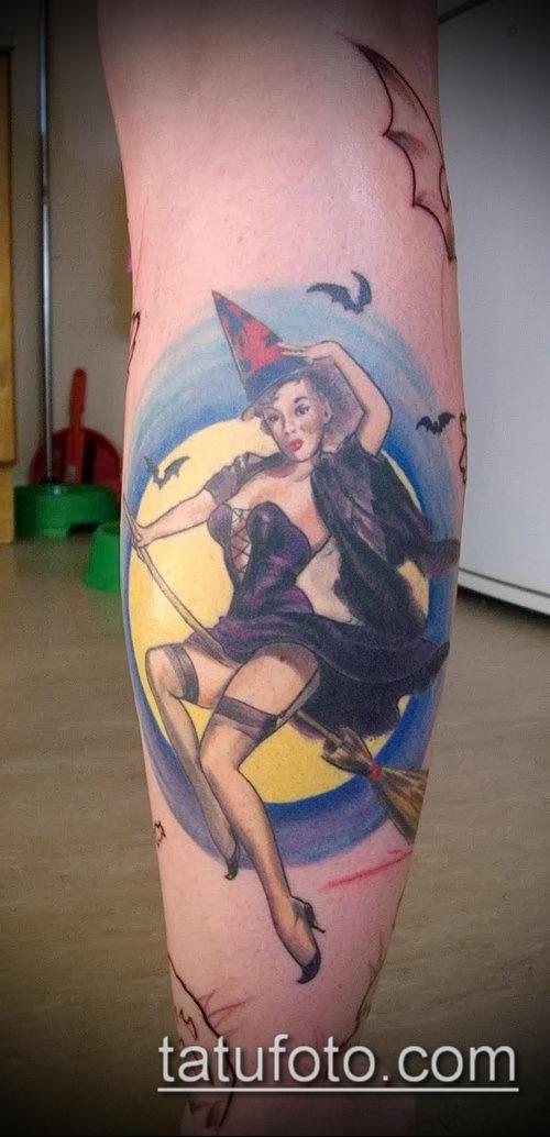 фото тату ведьма №872 - крутой вариант рисунка, который успешно можно использовать для преобразования и нанесения как тату ведьмака на руке