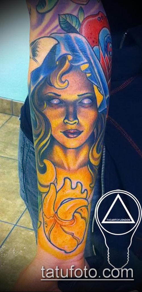 фото тату ведьма №423 - классный вариант рисунка, который удачно можно использовать для переработки и нанесения как тату ведьма на метле лицом вперед