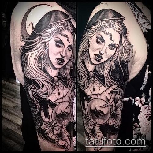 фото тату ведьма №392 - достойный вариант рисунка, который успешно можно использовать для переработки и нанесения как тату ведьмак