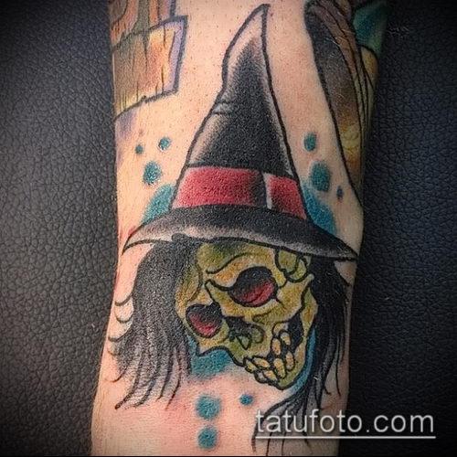 фото тату ведьма №926 - интересный вариант рисунка, который удачно можно использовать для переделки и нанесения как тату ведьма на костре
