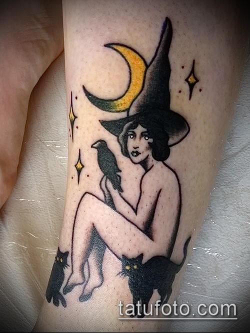 фото тату ведьма №225 - классный вариант рисунка, который успешно можно использовать для преобразования и нанесения как тату ведьма мультик