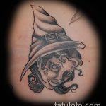 фото тату ведьма №475 - интересный вариант рисунка, который удачно можно использовать для преобразования и нанесения как татуировка ведьма на метле