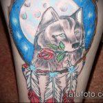фото тату волчица №289 - прикольный вариант рисунка, который удачно можно использовать для переработки и нанесения как тату волчица и волчонок