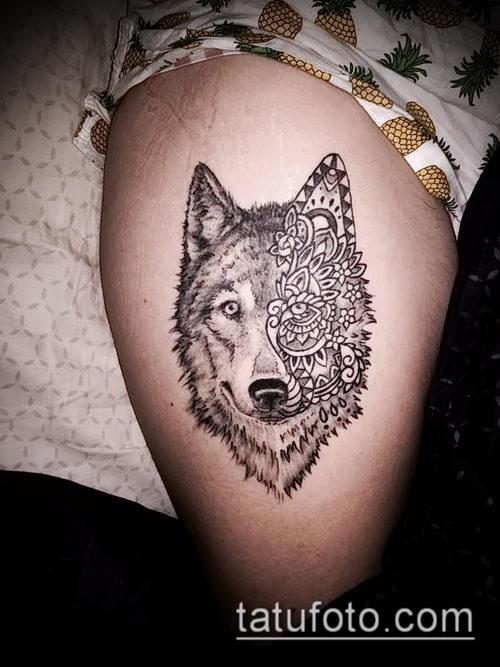 фото тату волчица №917 - эксклюзивный вариант рисунка, который хорошо можно использовать для переработки и нанесения как тату волчица на запястье