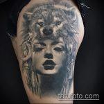 фото тату волчица №957 - интересный вариант рисунка, который успешно можно использовать для преобразования и нанесения как тату волчица на плече