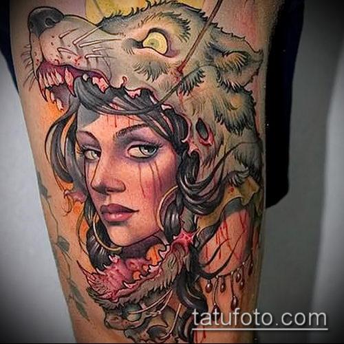 фото тату волчица №390 - интересный вариант рисунка, который удачно можно использовать для переделки и нанесения как тату волчица на запястье