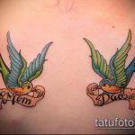 фото тату воробей №113 - эксклюзивный вариант рисунка, который хорошо можно использовать для переработки и нанесения как тату птица с цветами