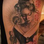 фото тату гейша №659 - классный вариант рисунка, который легко можно использовать для переработки и нанесения как тату гейша с черепом