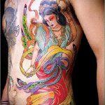 фото тату гейша №353 - достойный вариант рисунка, который удачно можно использовать для преобразования и нанесения как тату японская гейша