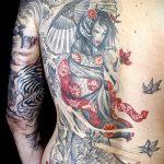 фото тату гейша №405 - прикольный вариант рисунка, который легко можно использовать для преобразования и нанесения как тату гейша на ноге
