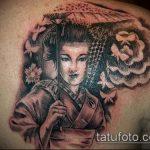 фото тату гейша №284 - эксклюзивный вариант рисунка, который успешно можно использовать для доработки и нанесения как тату гейша с сакурой