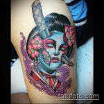 фото тату гейша №169 - крутой вариант рисунка, который легко можно использовать для переработки и нанесения как тату гейша на бедре