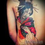 фото тату гейша №411 - прикольный вариант рисунка, который успешно можно использовать для переделки и нанесения как тату гейша на ноге