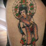 фото тату гейша №925 - эксклюзивный вариант рисунка, который успешно можно использовать для переделки и нанесения как тату японская гейша