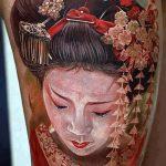фото тату гейша №127 - классный вариант рисунка, который хорошо можно использовать для преобразования и нанесения как тату гейша убийца