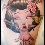 фото тату гейша №62 - достойный вариант рисунка, который легко можно использовать для переработки и нанесения как тату гейша на ноге